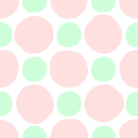 Simple seamless pattern with round spots drawn with a rough brush. Watercolor, paint. Vector illustration.