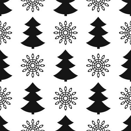 Simple seamless pattern with repeated silhouettes of snowflakes and Christmas trees. New year vector illustration.