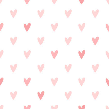 Simple seamless pattern with hearts. Romantic vector illustration. Vettoriali