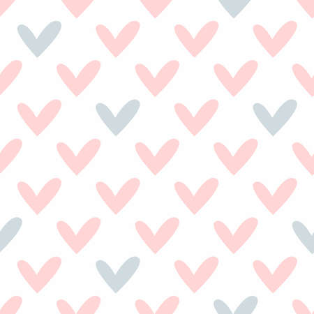 Cute seamless pattern with hearts. Endless romantic vector illustration.