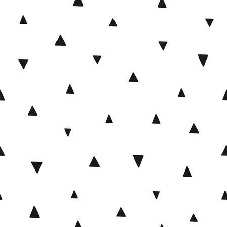 Seamless pattern with repeating triangles drawn by hand. Simple endless print. Vector illustration.