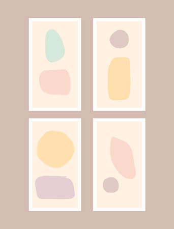 Set of cute templates for social media stories. Backgrounds with different shapes painted with a watercolor brush. Pastel vector illustration.