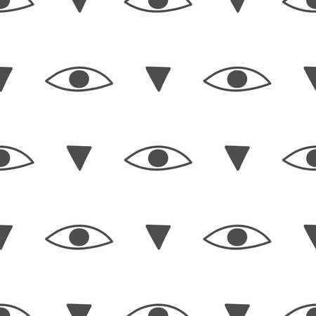 Repeating eye and triangle drawn by hand. Simple seamless pattern. Vector illustration. Vettoriali
