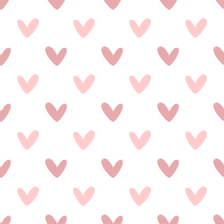Romantic seamless pattern with hearts. Cute vector illustration. Vettoriali