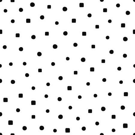 Seamless pattern with circles and squares drawn by hand. Black and white endless print. Simple vector illustration.
