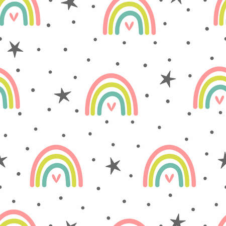 Cute seamless pattern with rainbows, hearts, stars and dots. Flat vector illustration.