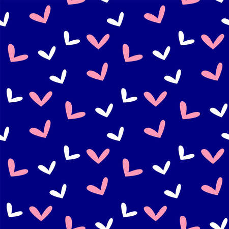 Cute seamless pattern with repeating hearts. Simple vector illustration.