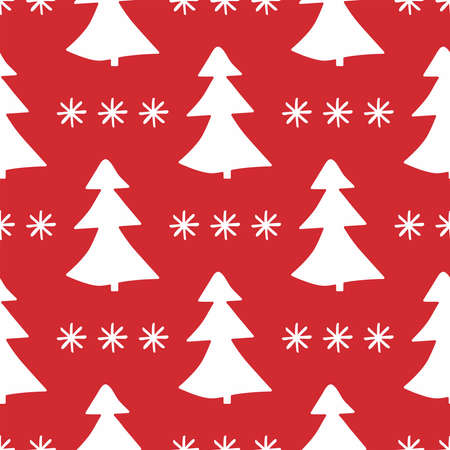 Seamless pattern with repeated silhouettes of Christmas trees and snowflakes drawn by hand. New year vector illustration.
