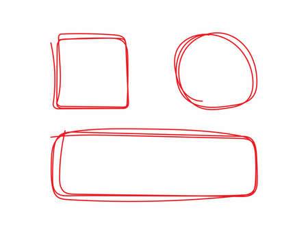 Set of geometric shapes drawn by hand. Isolated square, circle, rectangle. Sketch, doodle. Vector illustration. Иллюстрация