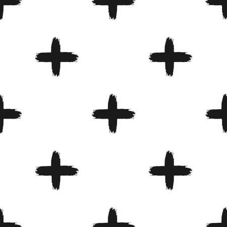 Repeated crosses drawn with a rough brush. Seamless pattern with black pluses on a white background. Paint, ink, watercolor. Simple vector illustration.