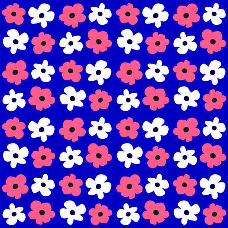 Cute seamless pattern with flowers. Endless girly floral print. Simple vector illustration.