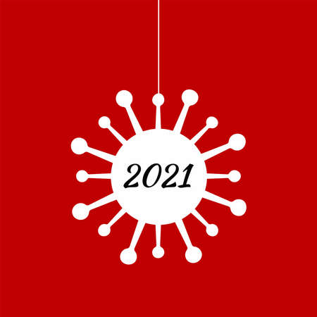 Silhouette of hanging coronavirus bacterium with number 2021. New year vector illustration.
