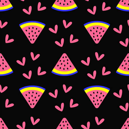 Girly seamless pattern with hearts and watermelon slices. Cute endless print. Vector illustration.