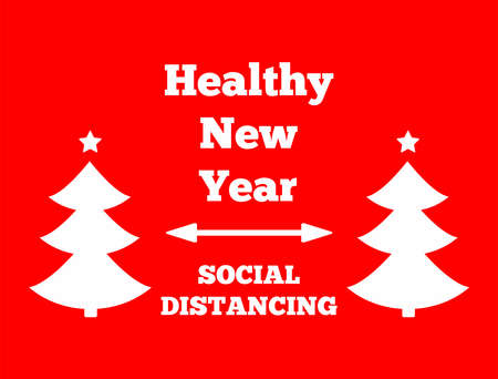 Social distancing poster. New year's theme. Vector illustration.