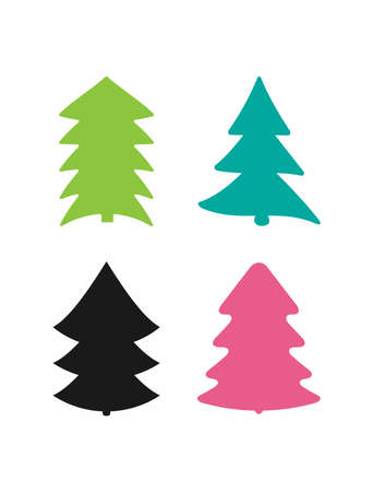 Set of silhouettes of Christmas trees. Collection of isolated colored icons. Vector illustration.