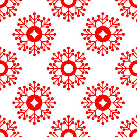 Simple seamless pattern with red snowflakes on white background. New year's print. Vector illustration.