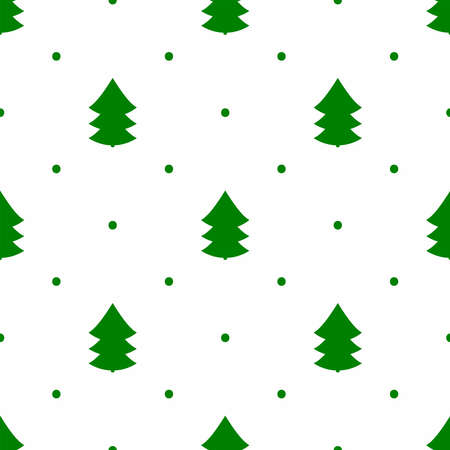 Silhouettes of Christmas tree and polka dot. Simple seamless pattern. Green elements on white background. New year vector illustration.