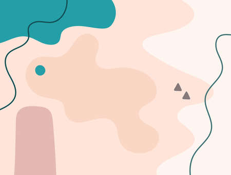 Horizontal background with organic and geometric shapes drawn by hand. Abstract template. Modern vector illustration.
