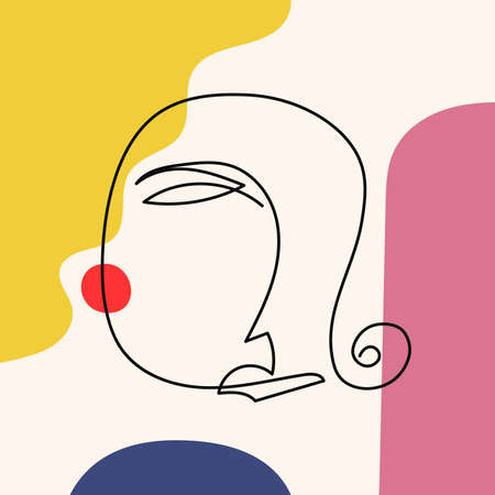 Sketch of a woman's head on abstract colored background. Drawn by hand. Modern vector illustration.