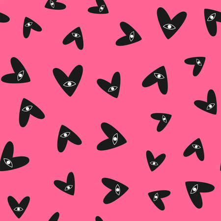 Scattered hearts with eyes drawn by hand. Simple seamless pattern. Cute vector illustration. Иллюстрация