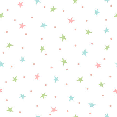 Cute seamless pattern with scattered small stars and dots. Simple vector illustration.