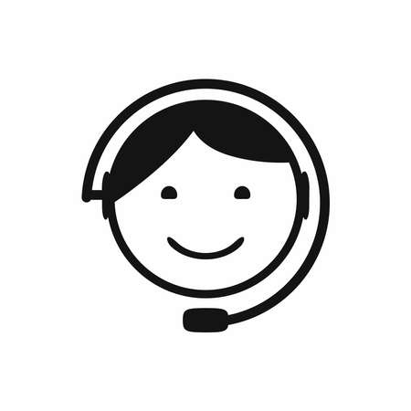 Head of man with headset. Call center icon. Customer support symbol. Isolated vector illustration. Иллюстрация