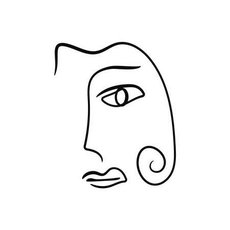 Isolated sketch of a woman's face and hair. Drawn by hand. Modern vector illustration.