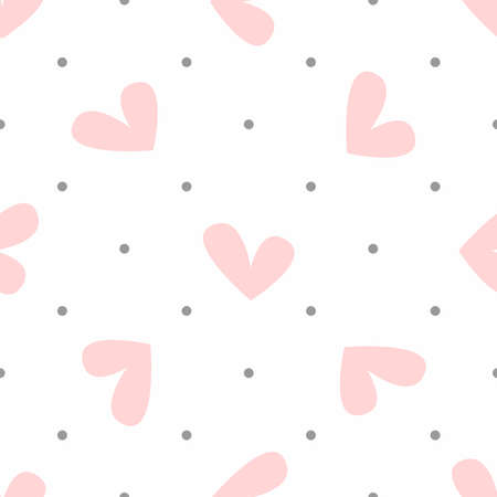 Repeating heart and polka dot. Cute pastel seamless pattern. Simple vector illustration.