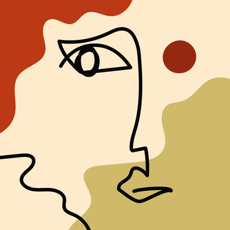 Minimalistic sketch of human face on abstract background. Drawn by hand. Modern vector illustration.