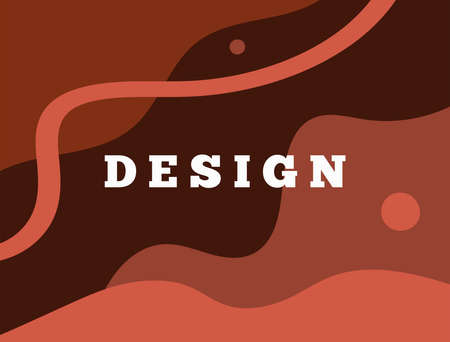 Abstract horizontal background with different shapes. Rectangular terracotta template. Drawn by hand. Modern vector illustration. Иллюстрация