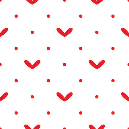 Romantic seamless pattern with hearts and polka dots. Simple vector illustration. Иллюстрация