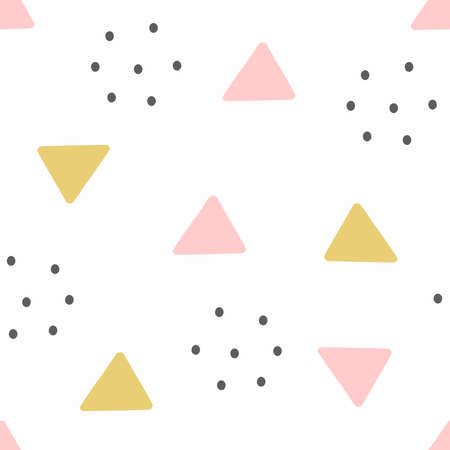 Abstract seamless pattern with circles and triangles. Cute print. Simple vector illustration. Иллюстрация
