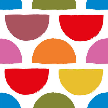 Seamless pattern with colored semicircles. Drawn with paint. Simple vector illustration.