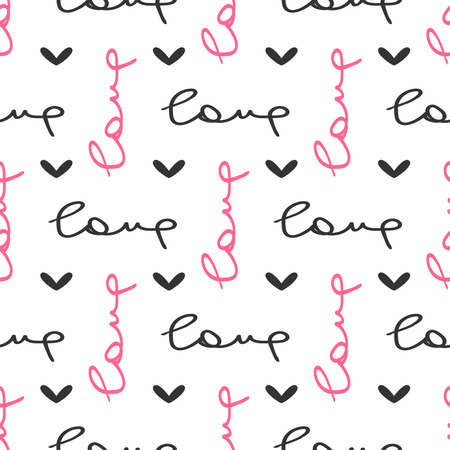Seamless pattern with hearts and handwritten text Love. Romantic print. Cute vector illustration.