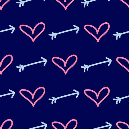Seamless pattern with hearts and arrows drawn by hand. Doodle, sketch. Endless romantic print. Simple vector illustration. Иллюстрация