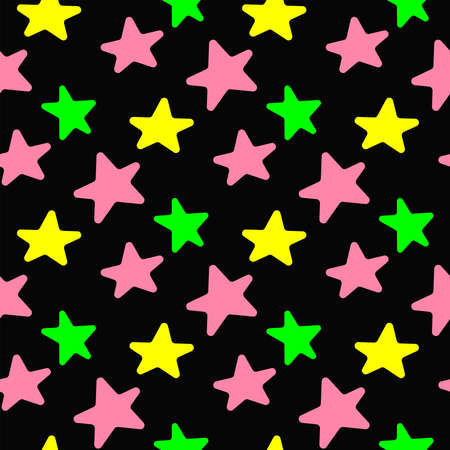 Colorful seamless pattern with repeating stars. Simple youth print. Vector illustration.