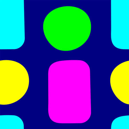 Simple seamless pattern with colorful circles and rectangles drawn by hand. Vector illustration. Иллюстрация