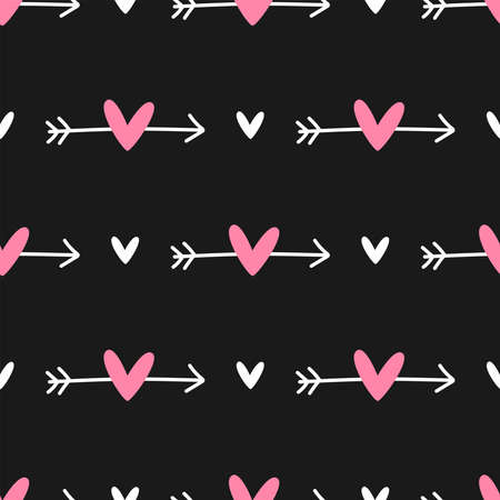 Cute seamless pattern with repeating arrows and hearts. Drawn by hand. Stylish girly print. Vector illustration. Black, white, pink.
