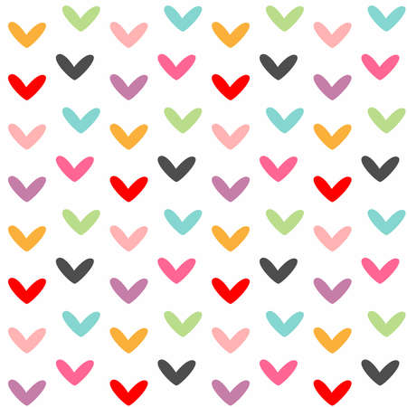 Cute seamless pattern with colorful hearts. Simple vector illustration.