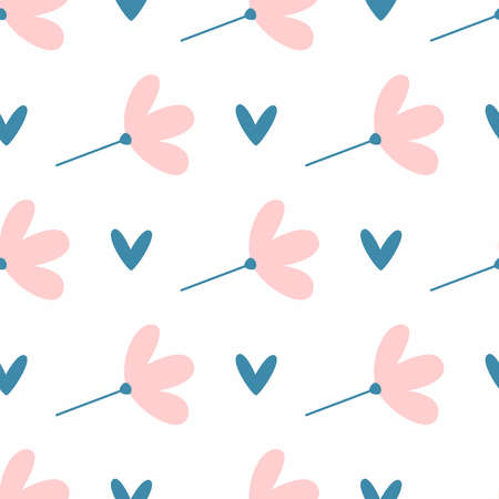 Cute seamless pattern with flowers and hearts. Endless girly print. Simple vector illustration. Иллюстрация