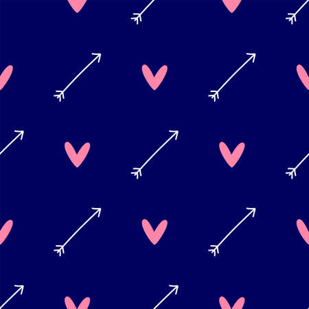 Simple seamless pattern with repeating arrow and heart. Cute vector illustration. Иллюстрация