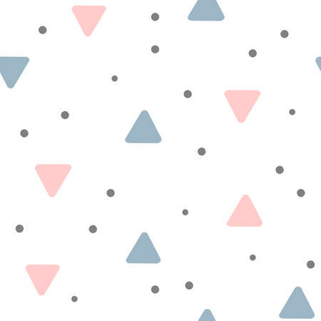 Seamless pattern with scattered triangles and dots. Girly print. Cute vector illustration.