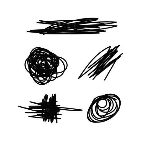 Set of abstract scribble. Doodle. Vector illustration.