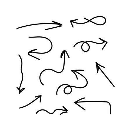 Set of arrows drawn by hand. Doodle, sketch. Vector illustration.