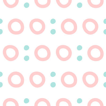 Seamless pattern with repeating dots and circles drawn by hand. Simple vector illustration.
