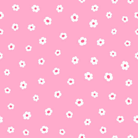 Simple seamless pattern with flowers. Cute girly print. Simple vector illustration. Иллюстрация