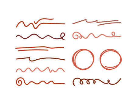 Set of isolated underlines and circles drawn by hand. Doodle, sketch. Vector illustration.