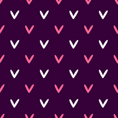 Simple seamless pattern with repeating hearts. Romantic vector illustration.