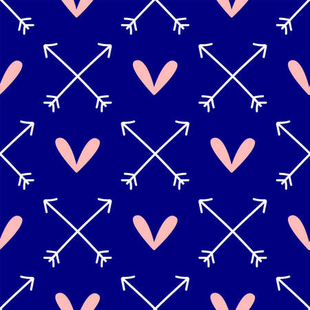 Cute seamless pattern with hearts and crossed arrows drawn by hand. Romantic endless print. Vector illustration.
