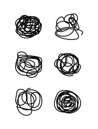Set of isolated scribbles. Collection of abstract elements drawn by hand. Sketch, doodle, scrawl. Vector illustration.